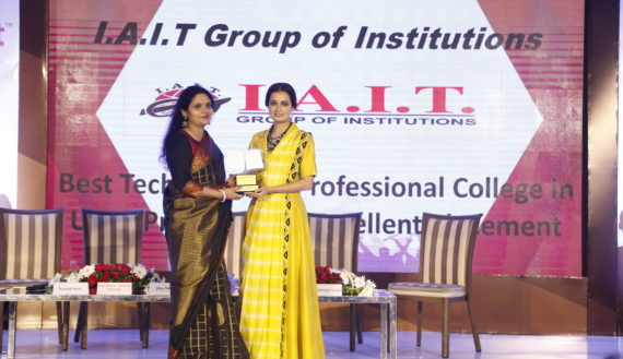 AWARDED BEST PROFESSIONAL & TECHNICAL COLLEGE WITH EXCELLENT PLACEMENT RECORD BY Ms.DIA MIRZA IN INDIAN EDUCATION AWARDS 2019